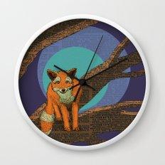 Fox at night Wall Clock