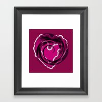 Pink Abstract Hearts Framed Art Print