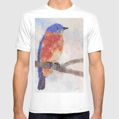 Little Bluebird White SMALL Mens Fitted Tee