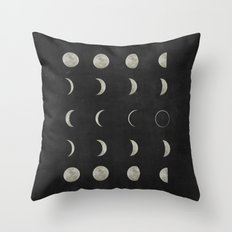 Moon Phases, Black White Decor, Bohemian, Magic, Lunar Cycle Throw Pillow