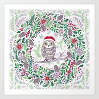 Owl Wreath Art Print