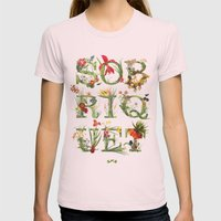 Sobriquet Floral. Womens Fitted Tee Light Pink SMALL