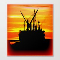 Silhouette of a Ship Canvas Print