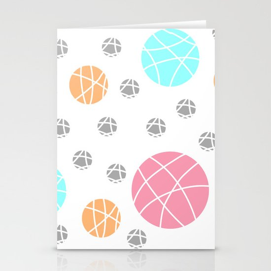 Broken Orbs (ColorOnWhite) Stationery Card