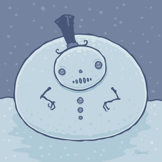 Pudgy Snowman Art Print