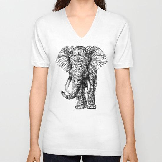 Ornate Elephant V-neck T-shirt