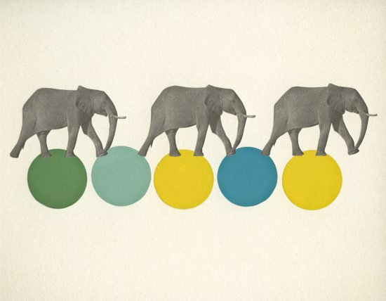 Travelling Elephants Art Print