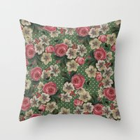 Vintage Rose Pattern Throw Pillow