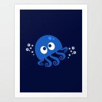Bubbly Octopus Art Print