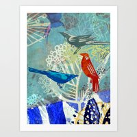Birds in the backyard. Art Print