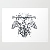 logo Art Prints featuring logo by Marilyne Lafrontiere Mla.designs