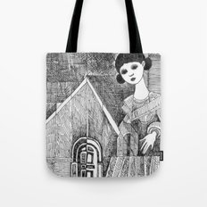 Girl on the top of her house. Tote Bag