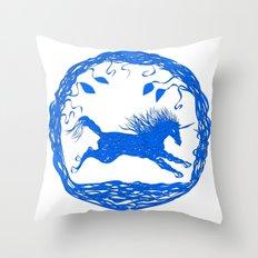 Blue Unicorn 02 Throw Pillow
