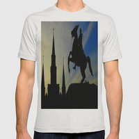 Landmark Silhouettes in Casa de Armas Mens Fitted Tee Silver SMALL