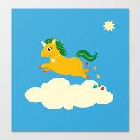 The golden unicorn of glitter poo Canvas Print