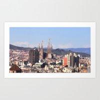 Barcelona: City View Wit… Art Print