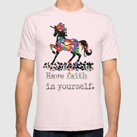 Have Faith In Yourself Mens Fitted Tee Light Pink SMALL