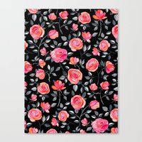 Roses on Black - a watercolor floral pattern Canvas Print