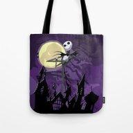 Halloween Purple Sky Wit… Tote Bag