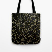 Abstraction Outline Gold on Black Tote Bag