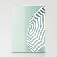 Parasol - Summer Beach Blue Stripes Photography Stationery Cards
