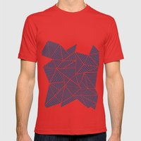 Abstract Mountain Navy Mens Fitted Tee Red SMALL