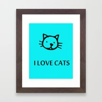 I LOVE CATS BLUE Framed Art Print