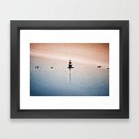Fishing Near The Lighthouse Framed Art Print