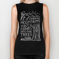 OVER THE MOUNTAINS (BW) Biker Tank