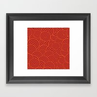 Red Pattern Curlies Framed Art Print
