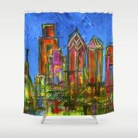 Philly Neon Skyline Shower Curtain