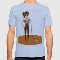 Girl with cat Mens Fitted Tee Athletic Blue SMALL