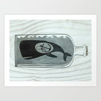 Whale In A Bottle | Anch… Art Print