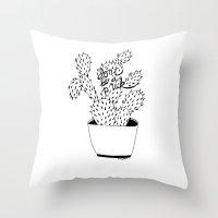 cactus in black Throw Pillow