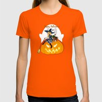 Happy Halloween Womens Fitted Tee Orange SMALL