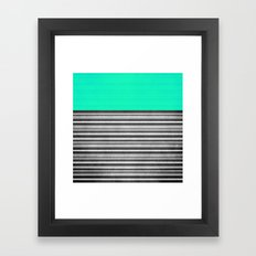 Mint Gray Stripes Framed Art Print