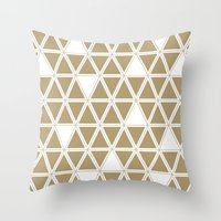 Tan Triangles Throw Pillow