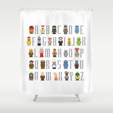 Pixel Muppet Show Alphabet Shower Curtain