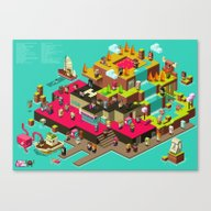 Canvas Print featuring PIXEL ISLAND by Mike Wrobel