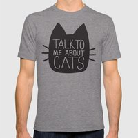 Talk to Me About Cats Mens Fitted Tee Tri-Grey SMALL