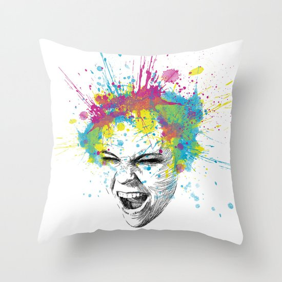 Colorful Scream Throw Pillow