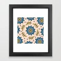 Blue Flower Wreath  Framed Art Print