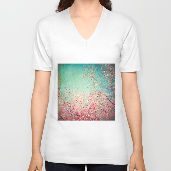 Blue Autumn, Pink leafs on blue, turquoise, green, aqua sky V-neck T-shirt