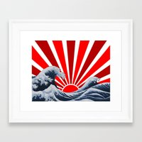 Framed Art Print featuring Great Wave of the Rising Sun by dTydlacka
