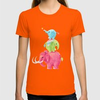 Elephants Womens Fitted Tee Orange SMALL