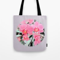 Lovely pink orchid flower color pencil sketch. floral photo art. Tote Bag