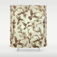 Sepia Hummingbird Pattern Shower Curtain