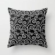 Spiral Noir Blanc 2 Throw Pillow