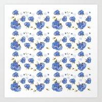 Cape Cod Hydrangea Blooms and gold birds Art Print