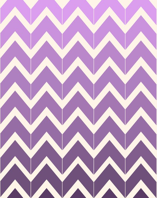 Grape & Ivory Ombre Chevrons Art Print
